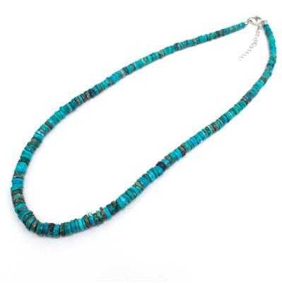 117.51ct Sleeping Beauty Turquoise Sterling Silver Graduated Necklace