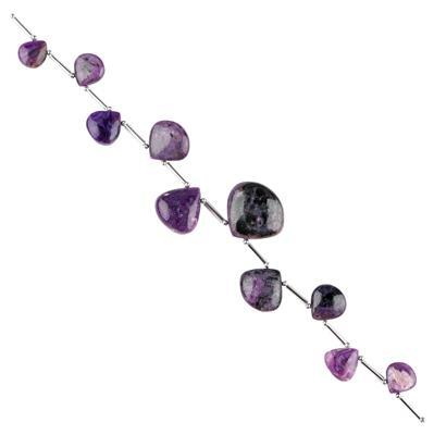 70cts Charoite Graduated Flat Pears Approx 8 to 18mm, 14cm Strand.