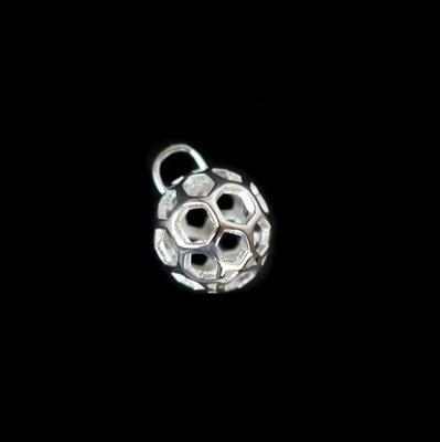 925 Sterling Silver Honeycomb Ball Charm 10mm, 1pc
