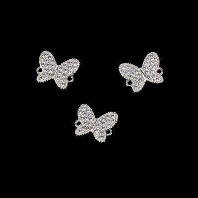 Spring Butterfly Connectors 925 Sterling Silver and Cubic Zirconia Approx 11mm, 3pk