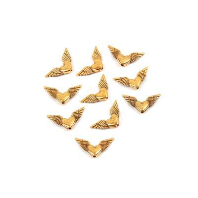 Antique Golden Wings Approx 25mm 10pk