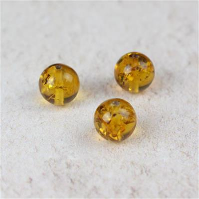 Baltic Cognac Amber Rounds 8mm, 3pcs