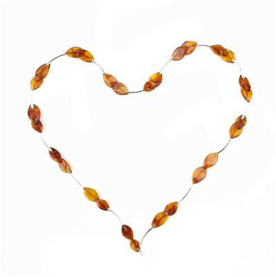 Baltic Cognac Amber Petals Approx 11x6 to 15x9mm + Sterling Silver 15mm Spacers