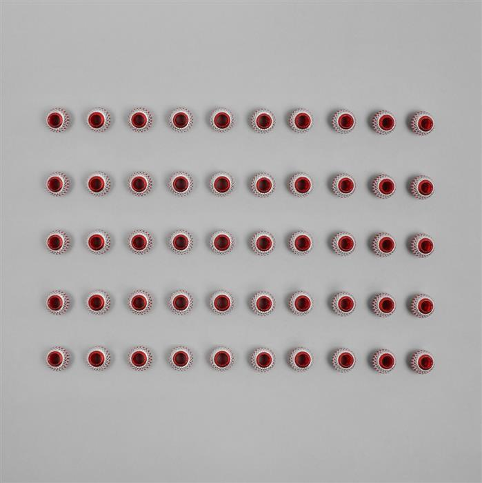 50x Red & Silver Carved Aluminium Spacer Beads Approx 15x13mm with a 6mm Hole