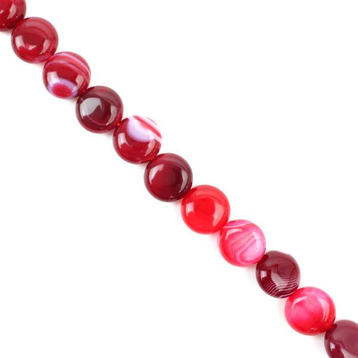 190cts Cerise Stripe Agate Puffy Coins Approx 12mm, 38cm/strand