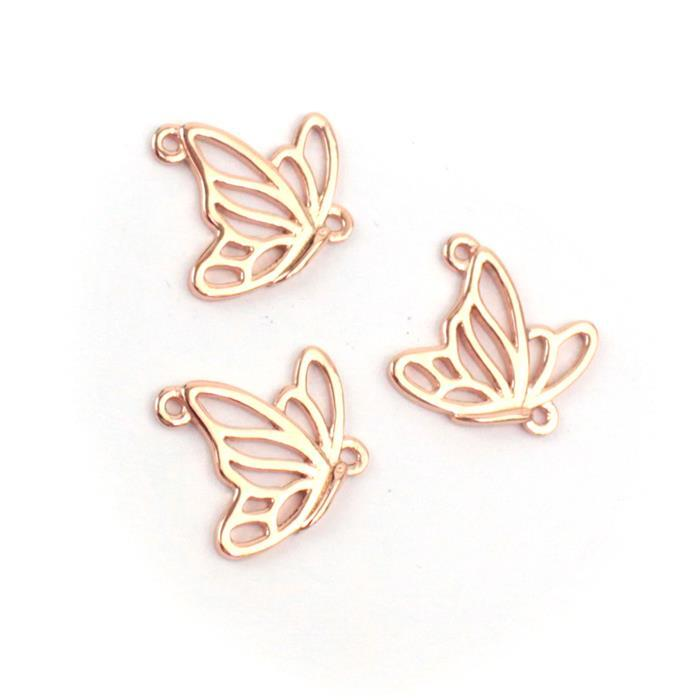 Rose Gold Plated 925 Sterling Silver Filigree Butterfly in Flight Connectors Approx 12x14mm 3pcs