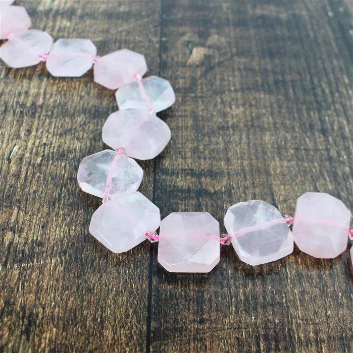 600cts Rose Quartz Faceted Slabs Approx from 18x23 to 21x25mm, 17pcs per strand