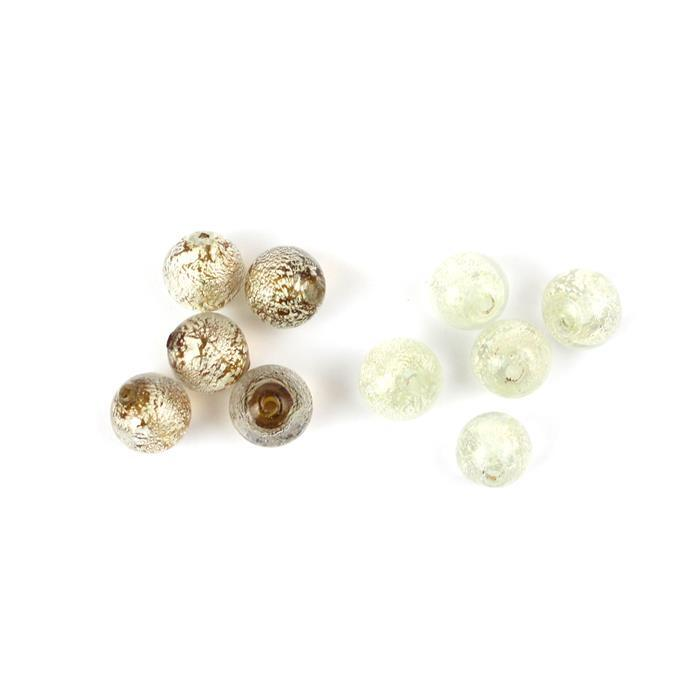 Murano Glass Beads Vol 2.Inc Crystal White Goldfoil & Light Topaz White Goldfoil (5pcs/ea)