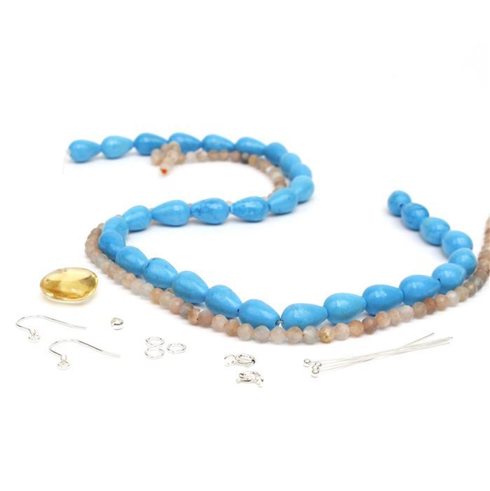 Heart of Gold: Citrine Puffy Heart, Blue Magnesite Round Drops, Sunstone Beads & Findings