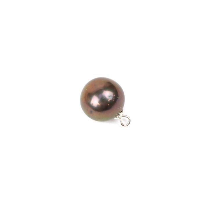 Peacock Freshwater Cultured Pearl Near Round Pendant (Half Drilled) Appox 13x9mm, 1 Piece