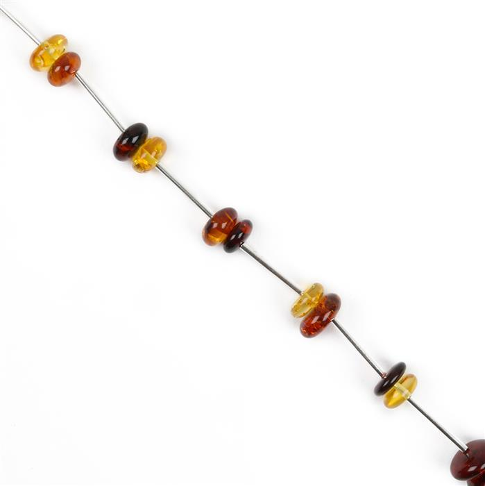Baltic Multicolour Amber Nuggets - 6x8 to 9x10mm incl. Sterling Silver Spacers