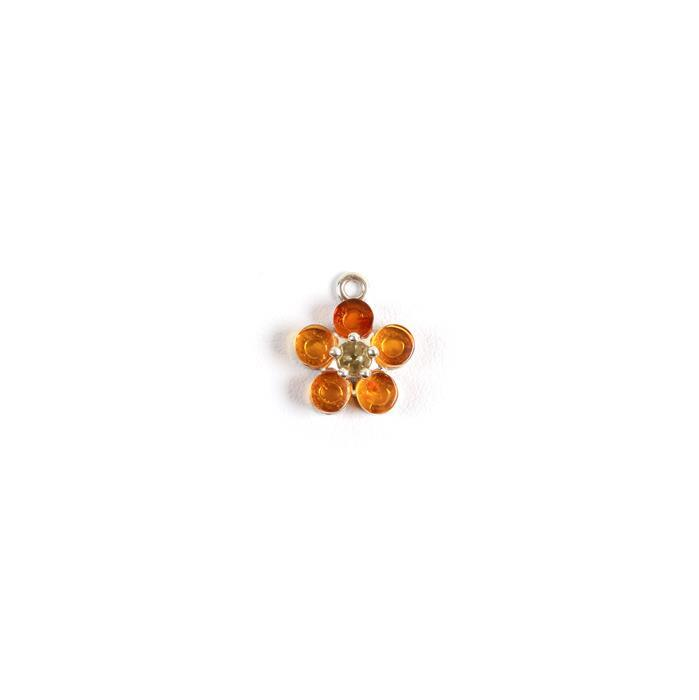 Baltic Cognac and Lemon Amber Flower Charm, Sterling Silver, Approx 16x15mm