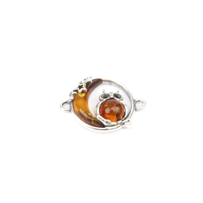 Baltic Cognac Amber Owl & Moon Sterling Silver Connector Approx 20x15mm