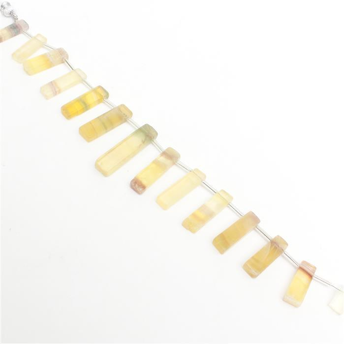 146cts Yellow Fluorite Graduated Plain Bars Approx 13x6 to 29x7mm, 20cm Strand.