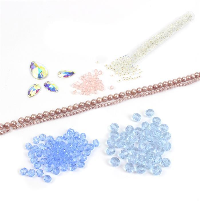 Pastel Peacock Belle Hairbands INC 76cm Pale Mauve Pearls, 225 Fire Polish Beads & Swarovski