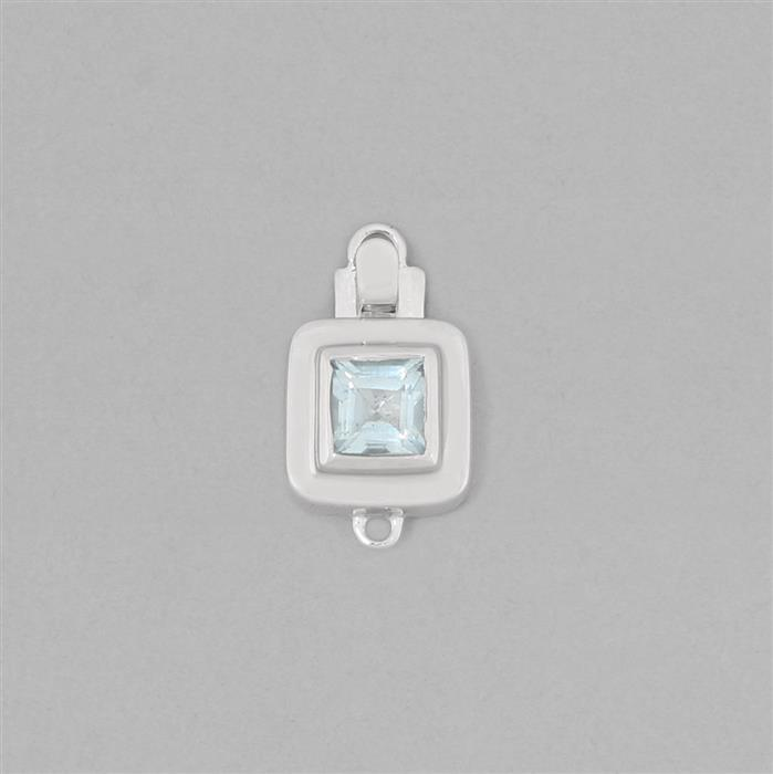 925 Sterling Silver Fancy Box Clasp Approx 19x11mm Inc. 1.20cts Sky Blue Topaz Faceted Square Approx 6mm
