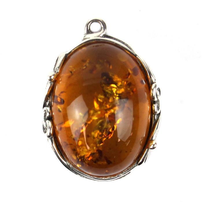 Baltic Cognac Amber Cabochon Oval with Sterling Silver Element Approx 20x14mm