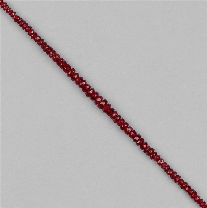 9cts Longido Ruby Graduated Faceted Rondelles Approx 2x1 to 3x2mm, 8cm Strand.