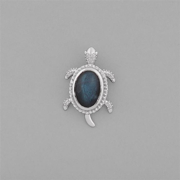 925 Sterling Silver Gemset Turtle Charm Approx 28x18mm Inc. 5cts Labradorite Plain Oval Approx 14x10mm.