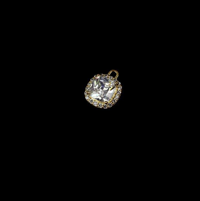 Gold Plated 925 Sterling Silver Cubic Zirconia Cushion Pendant approx 10mm,1pcs