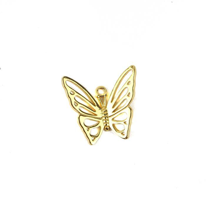 Gold Plated 925 Sterling Silver Filigree Butterfly Pendant Approx 20mm 1pc