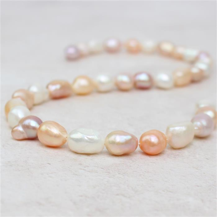Multi Colour Freshwater Cultured Pearl Long Nuggets Approx 9x11mm, 38cm strand