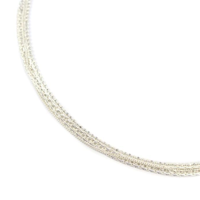 925 Sterling Silver Multi Chain Necklace Connector 30cm 1pc