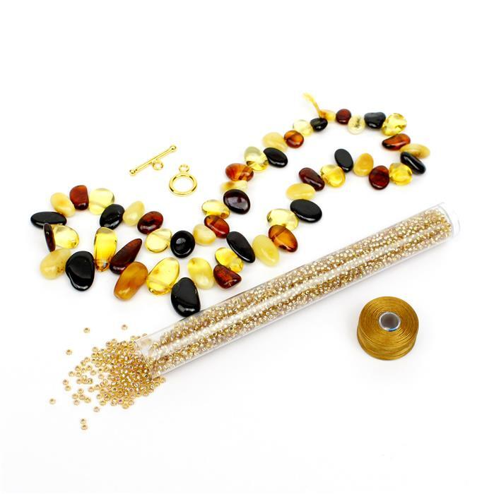 Honey Bee: Baltic Multi-Colour Amber Nuggets, Gold 11/0s, 925 Gold Plated Clasp & Thread