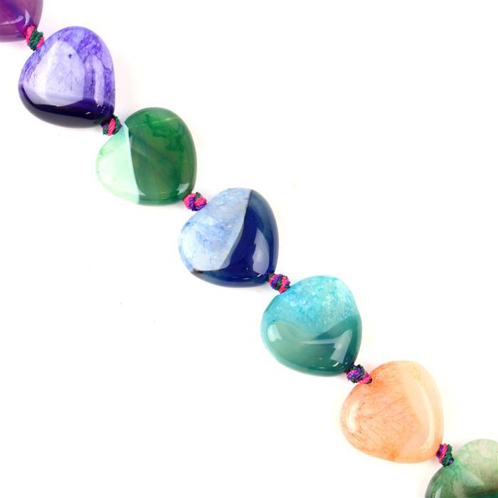 370cts Dyed Multi-colour Strip Agate Puffy Hearts Appox 20mm, 38cm