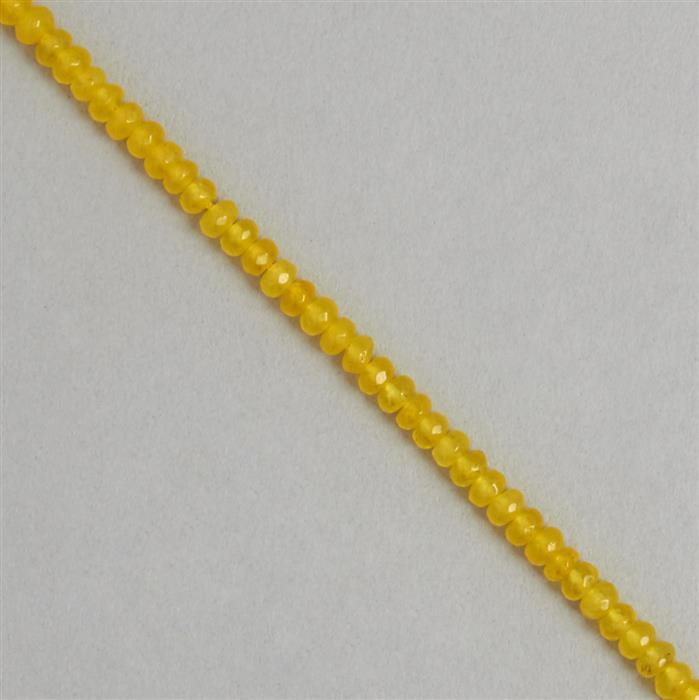 30cts Yellow Colour Dyed Quartz Faceted Rondelles Approx 3x1mm, 35cm Strand.