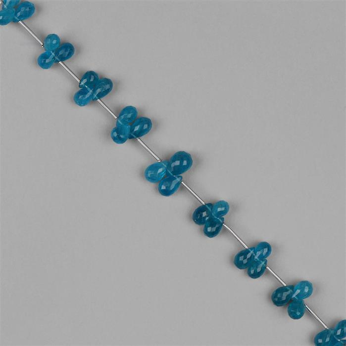 36cts Neon Apatite Graduated Faceted Drops Approx 4x3 to 8x5mm, 16cm Strand.