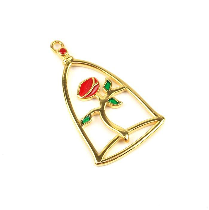 Gold Plated 925 Sterling Silver Enamel Rose House Charm Approx 25x14mm, 1pcs