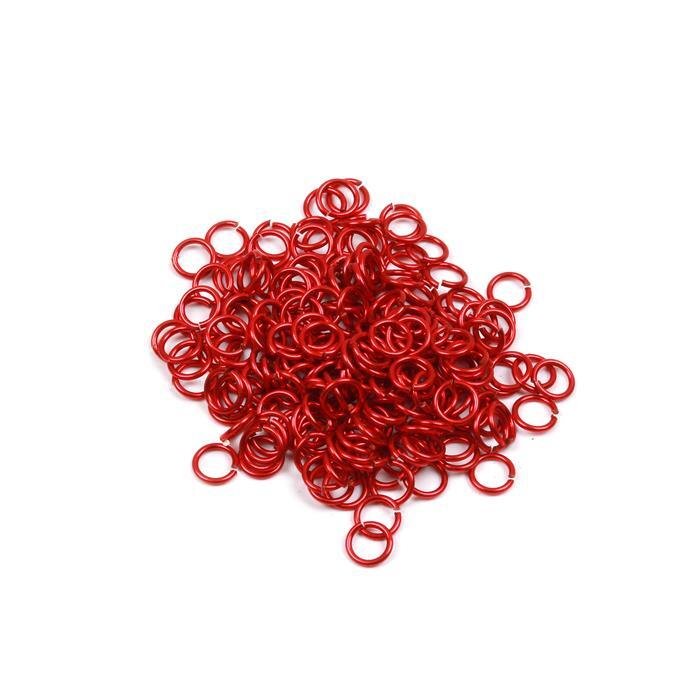 Red Coloured Copper Open Jump Rings Approx 5mm 200PCS