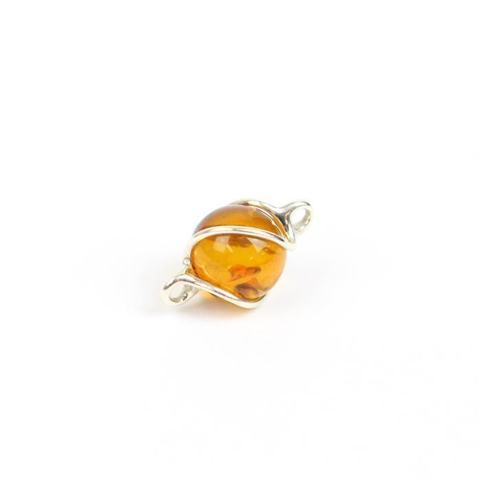 Baltic Cognac Amber Swirl Round Bead Connector Approx 9mm Sterling Silver