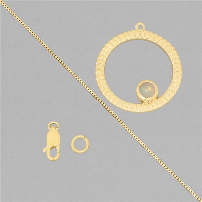 Birthstone Kit: Gold Plated 925 Sterling Silver Birthstone Necklace Kit Inc. 0.30cts Ethiopian Opal Round Approx 5mm