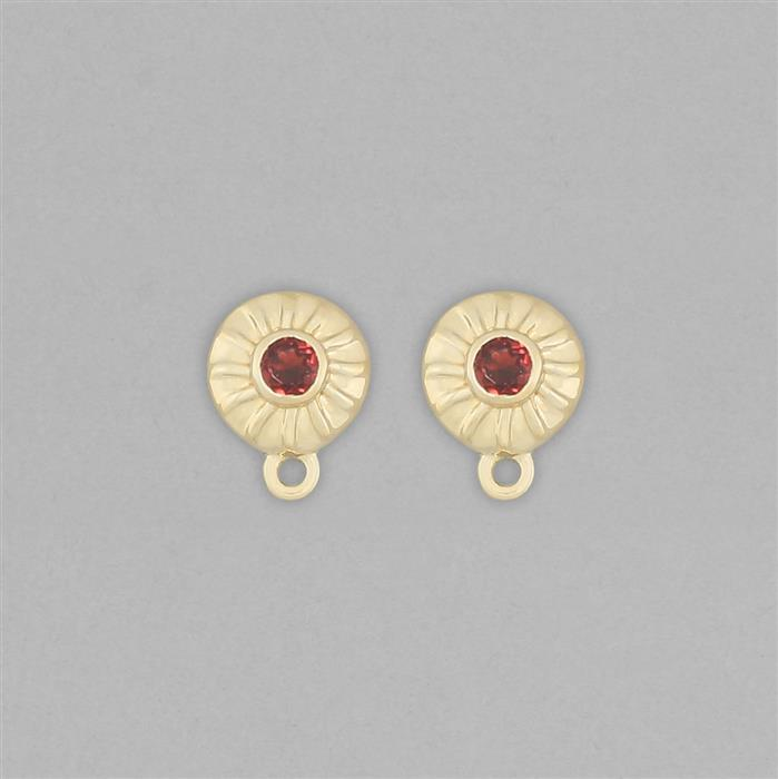 Gold Plated 925 Sterling Silver Stud Earrings with Loops Approx 11x8mm Inc. 0.30cts Garnet Round Approx 3mm