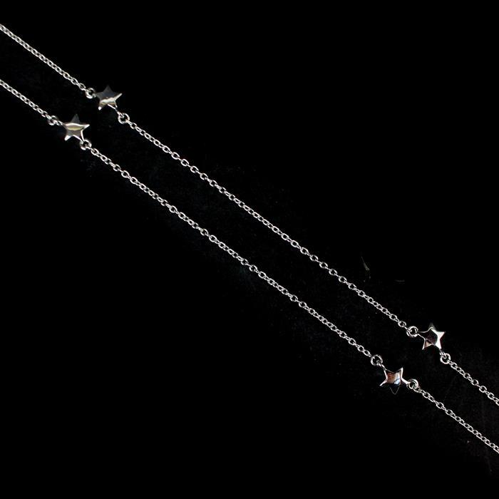 925 Sterling Silver Star Motif Chain Approx 50cm, 1pc