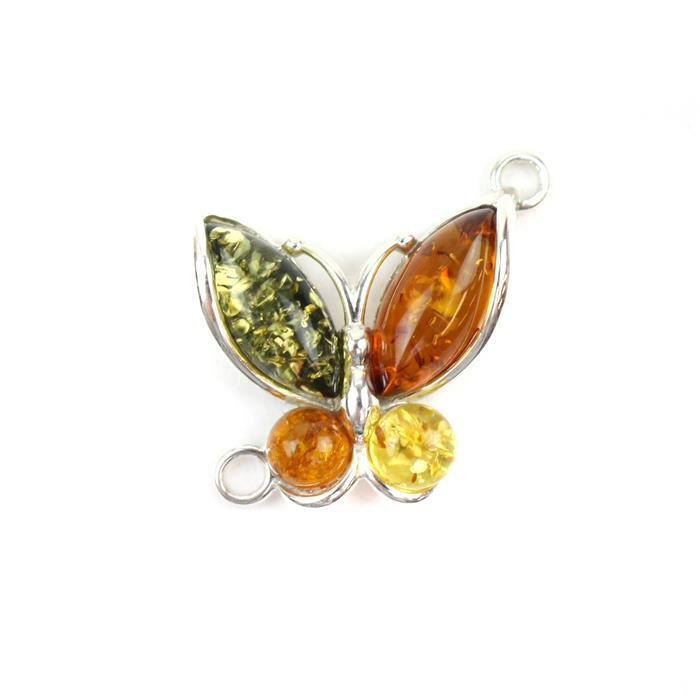 Baltic Amber Multi-Colour Marquise Butterfly Sterling Silver Element Connector Approx 20x21mm