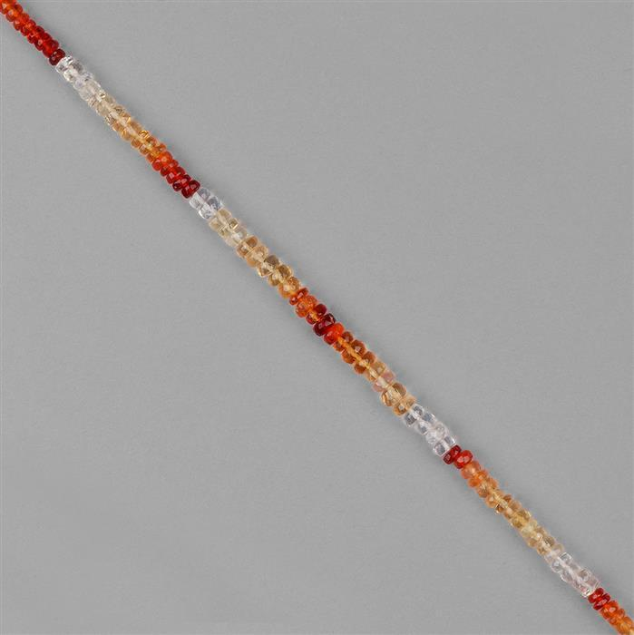 16cts Mexican Fire Opal Graduated Faceted Rondelles Approx 2x1 to 4x2mm, 20cm Strand.