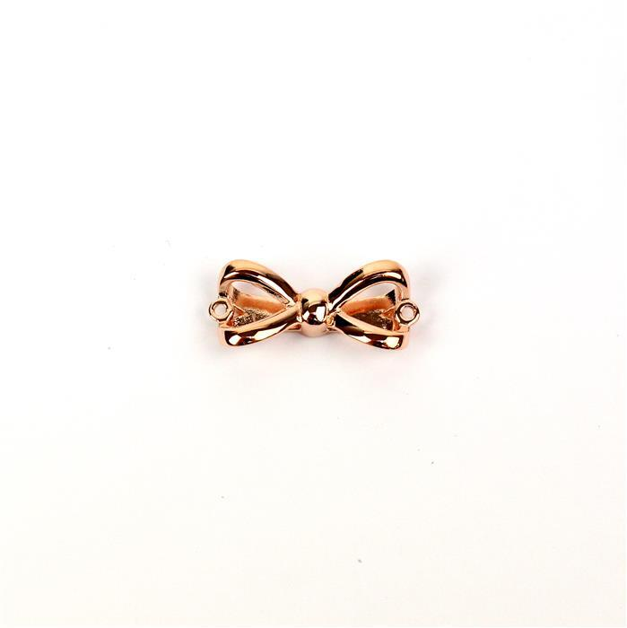 Rose Gold Flash 925 Sterling Silver Large Bow Connector Approx 9x20mm 1pc