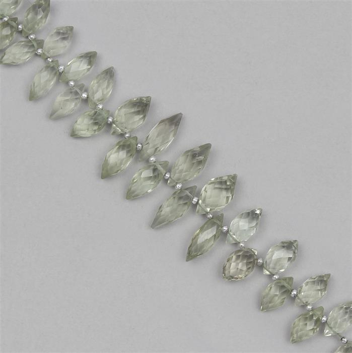 135cts Green Amethyst Graduated Faceted Marquises Approx 10x5 to 17x7mm, 21cm Strand.
