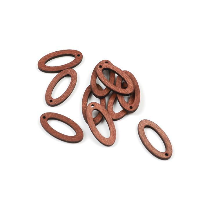 Brown Wood Oval Loops Approx 30x15mm (10pcs/pack)