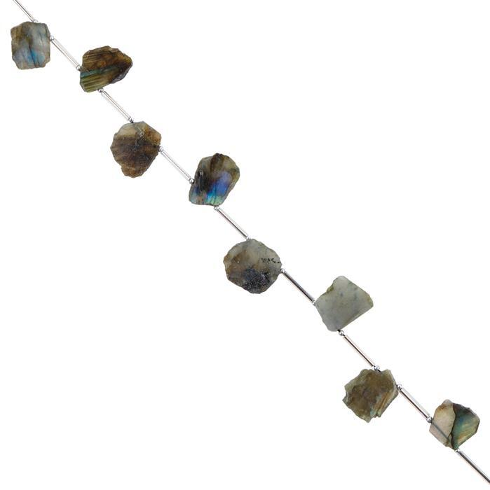 45cts Labradorite Graduated Rough Slices Approx 14x11 to 17x12mm, 14cm Strand.