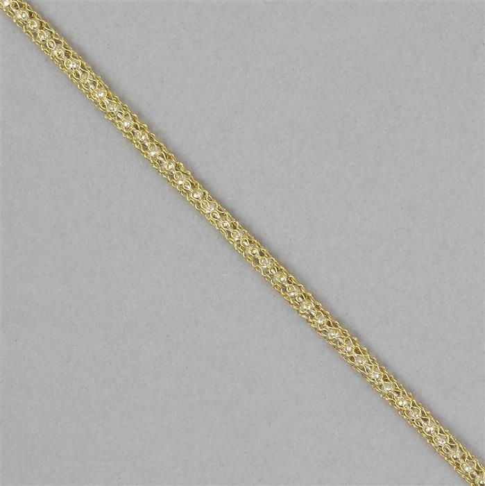 1m Gold Coloured Knitted Wire with Silver Beaded Chain 3mm