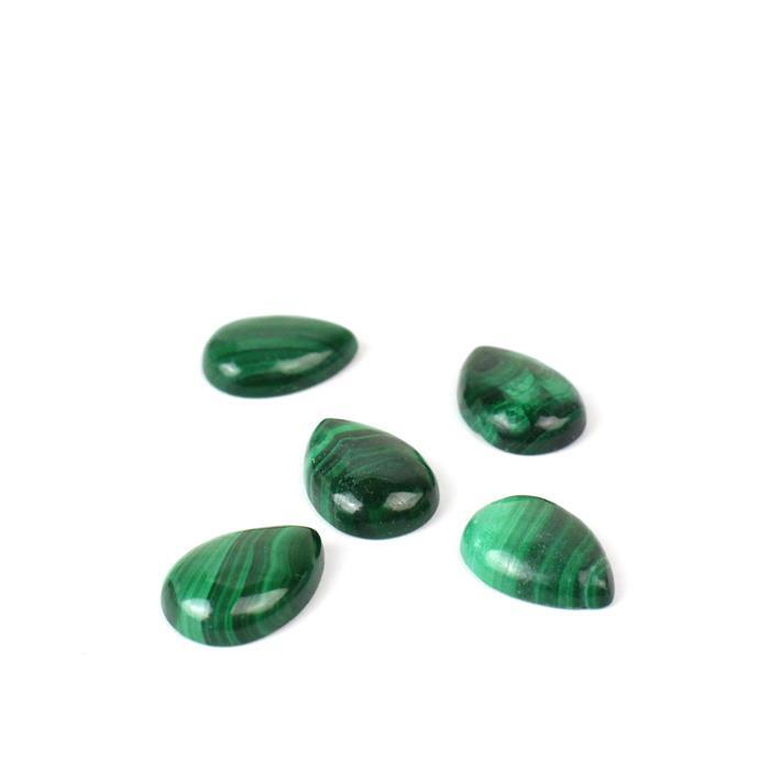 20cts Malachite Pear Cabochons Approx 14x10mm 5pc/set