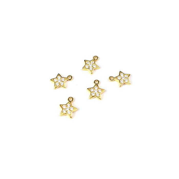Follow The Star Gold Plated 925 Sterling Silver Charms & Cubic Zirconia Approx 8x9mm 5pcs