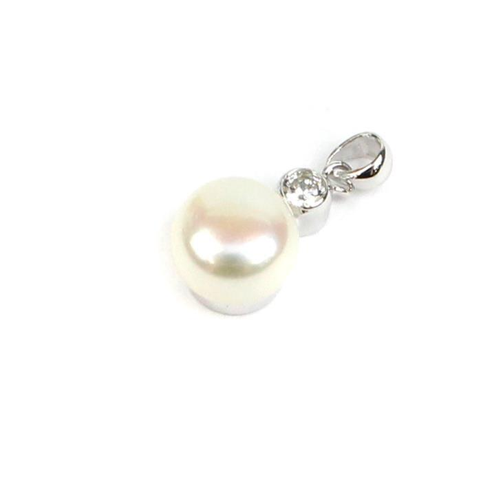 925 Sterling Silver Pendant With White Freshwater Button Pearl Approx 7-8mm & Cubic Zirconia Setting (1pc)