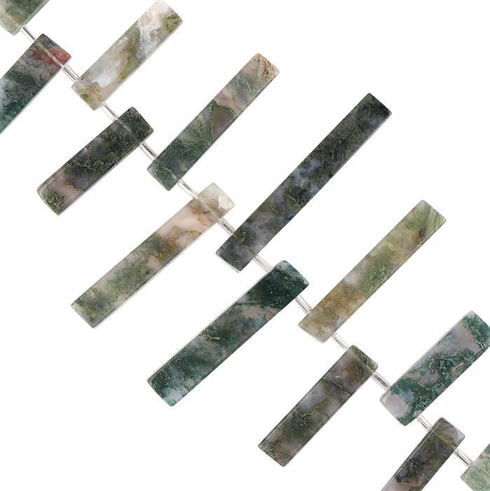 205cts Moss Agate Graduated Plain Bars Approx 17x6 to 43x7mm, 18cm Strand.