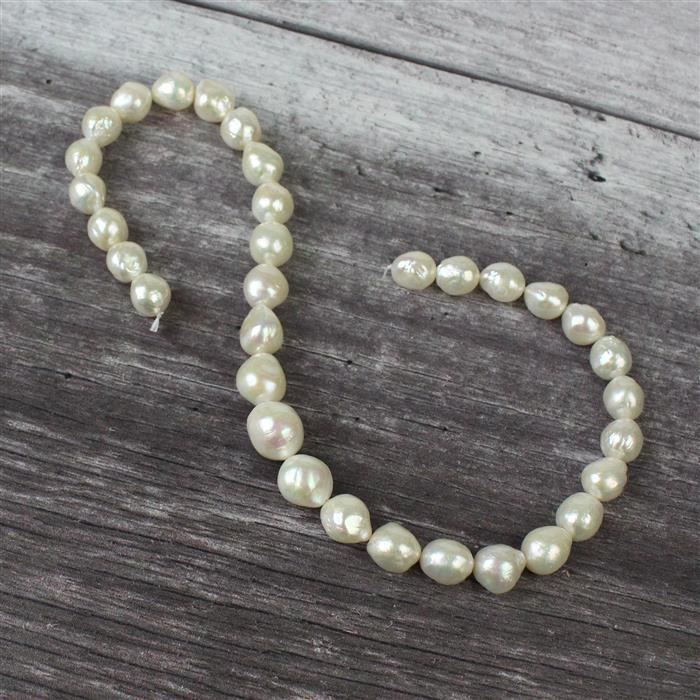 Natural Metallic White Freshwater Cultured Pearls approx 10x12 to 12x14mm, 40cm strand