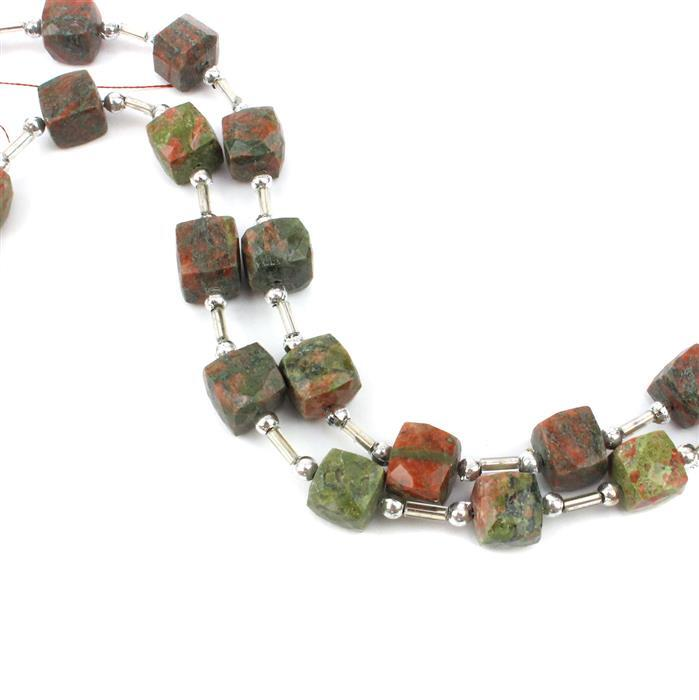 Double Unakite! inc; 2 x 76cts Unakite Graduated Faceted Cubes Approx 7 to 9mm, 18cm Stran
